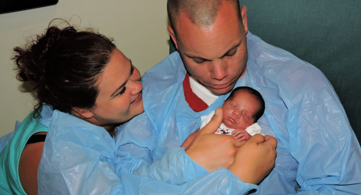 Family staying at Ronald McDonald House while baby is receiving medical care